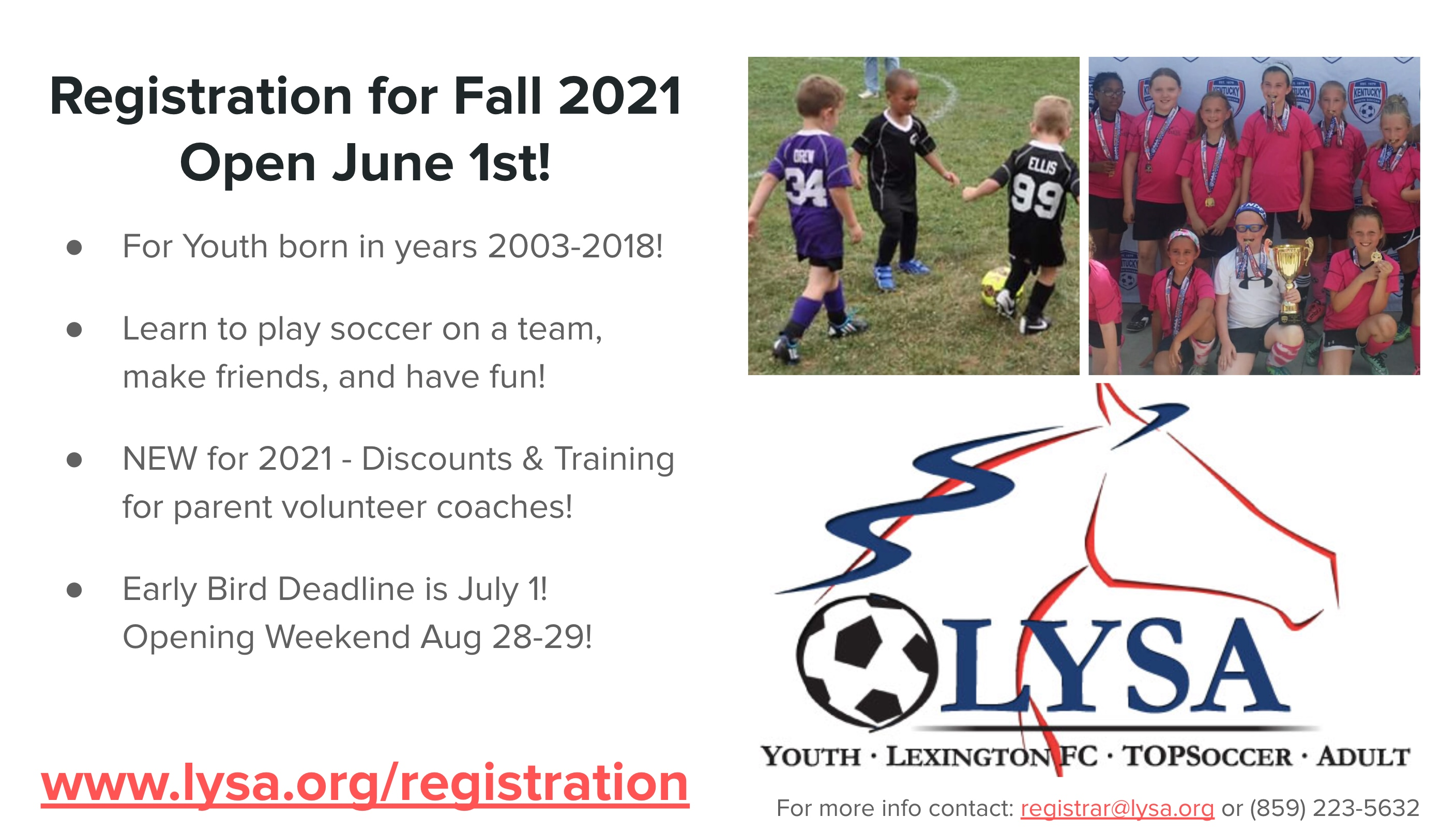 Fall Registration Open Now! -  Click REGISTRATION Tab Above