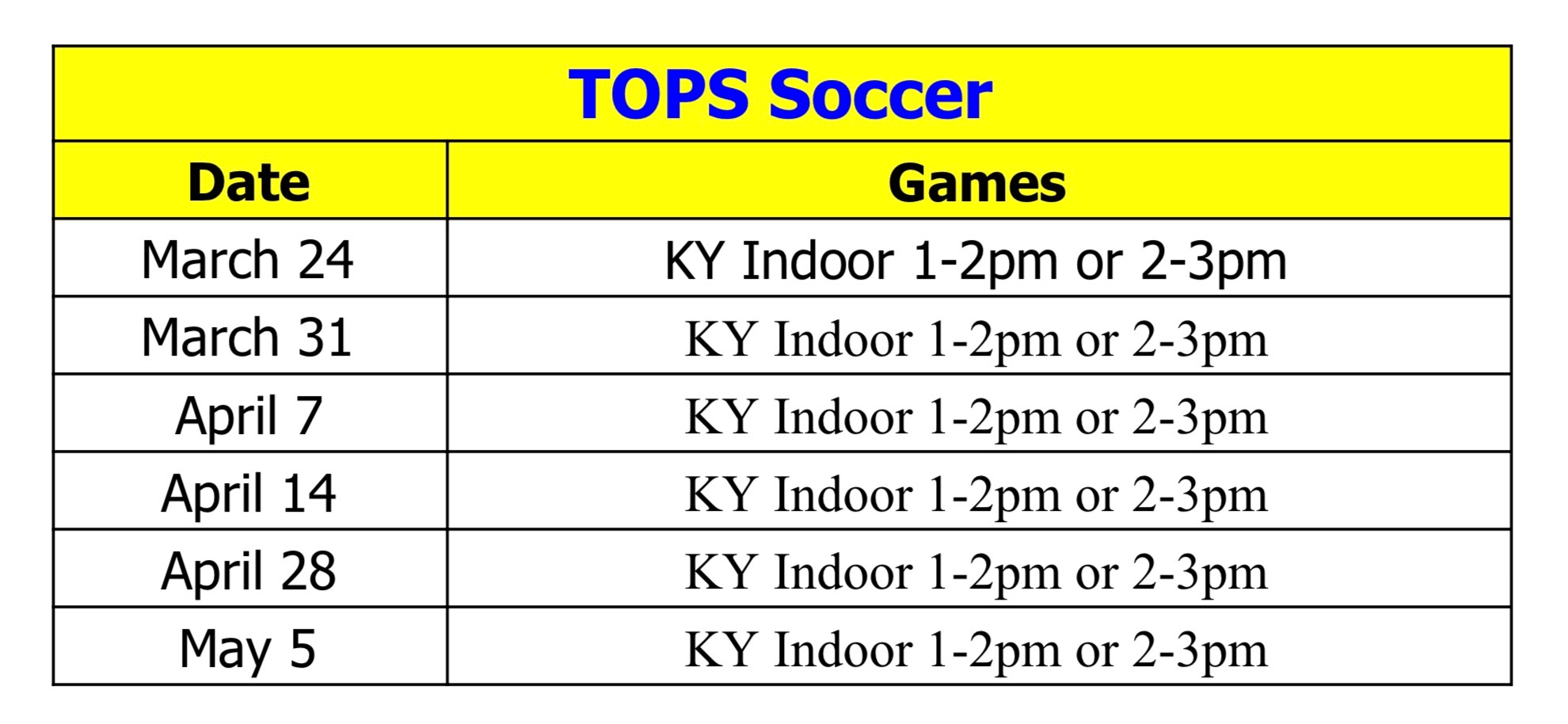 LYSA TOPSoccer Schedule